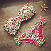 Cute Floral Bikinis Set  Swimsuit Bathing Suits
