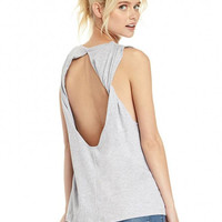 Gray Twisted Open-Back Tank Top