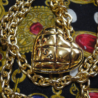 Vintage Sonia Rykiel golden quilted heart shape long chain necklace. Perfect vintage jewelry from SR