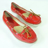 Michael Kors Tabitha Red Leather Boat shoes 8.5