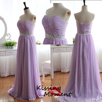Stunning hot sale Lilac sweetheart A-line prom dress, sexy black prom dresses, Discount Formal Evening dresses, Silver beading Sash, 9085