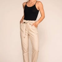 Evening Breeze Paperbag High Waisted Pants - Khaki