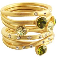 5Pc Canary/Peridot Matte Stack Rings