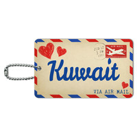 Air Mail Postcard Love for Kuwait ID Card Luggage Tag