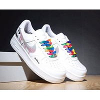 Nike Air Force Trending Women Men Casual Rainbow Lace-Up Sport Running Shoe Sneakers White Rainbow Hook I-CQ-YDX