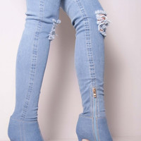 Hot selling light blue cut-outs denim stretch fabric over the knee boots sexy pointed toe thigh high boots for night club women