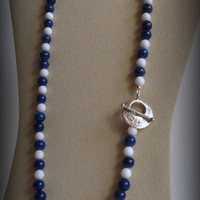 Blue Sodalite and White Tridacna Necklace, Sterling Silver Clasp, Smokeylady54