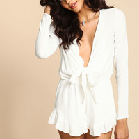 IVORY TIE FRONT RUFFLE ROMPER
