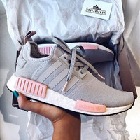 ADIDAS Women Running Sport Casual Shoes NMD Sneakers Grey