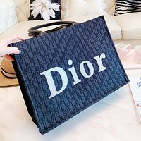 DIOR fashion hot seller full of embroidery sewing big LOGO hand-held shopping bag