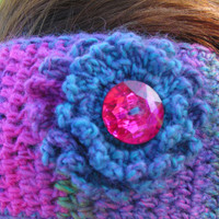 Crochet Ear Warmer, Flower Button Headband, Wool Ear Warmer, Teen - Adult Ear Warmer, Colorful, Fall Fashion