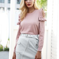 Simplee Adjustable Belted Zip Detail Suede Skirt