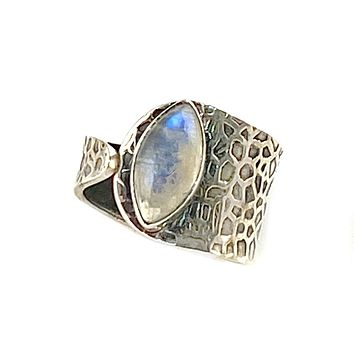 Moonstone Textured Sterling Silver Adjustable Ring