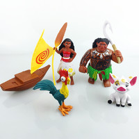 5pcs/lot Cartoon Movie Moana Toys Anime Action Figure Kids Toys for Children Christmas Gift Doll
