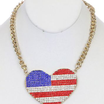 """18"""" crystal pave big 3.25"""" x 2.25""""  heart american flag necklace"""