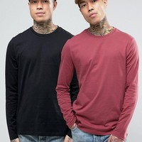 ASOS 2 Pack Long Sleeve T-Shirt Crew Neck SAVE at asos.com