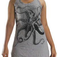 USA SHIPPING**Women's Sure Mythical Octopus Monster Yoga Long Tank Top Dress Gray SD08-12S