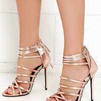 Lift Your Spirits Rose Gold Caged Heels