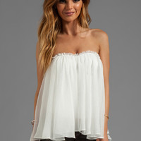 BLAQUE LABEL Strapless Ruffle Top