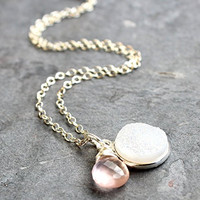 Druzy Quartz Rose Necklace Pendant White Pink Rainbow Sterling Silver 18 Inches