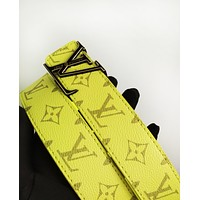 LV fashion casual belt for men and women hot sales printed belt Yellow