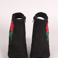 Suede Embroidered Rosette Chunky Perspex Heeled Mule Booties