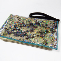 Ivory Clutch Bag Holographic Glitter Wristlet Ivory Leather Clutch