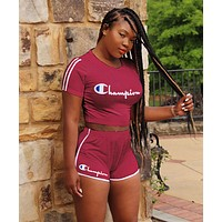 Champion Trending Women Leisure Print Shorts Sleeve Top Shorts Set Two Piece Burgundy