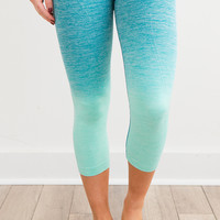 Work It Out Ombre Cropped Leggings - Mint