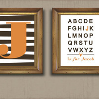 DEER Monogram Stripe Alphabet Brown Orange Rustic Any Color Nursery Decor Wall Art Bedroom Decor CANVAS or Prints Baby Shower Gift