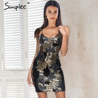 Simplee Lace up sequin bodycon dress women Mesh strap short sexy dress party Padded backless spring short dress female vestidos