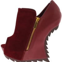 *G.E.LLc Burgundy Peep Toe Heel-Less Wedge