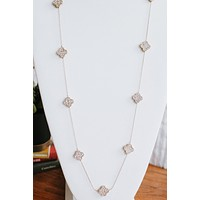 Rhinestone Clovers on Chain Necklace