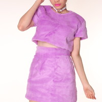 Glitters For Dinner — Made To Order - Gigi Furry 2 Piece Set in Purple