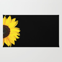 colored summer ~ sunflower black Area & Throw Rug by Steffi ~ findsFUNDSTUECKE