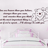 Wall Decals Quotes Vinyl Sticker Decal Quote Winnie the Pooh You are braver than you believe Nursery Baby Room Kids Boys Girls Home Decor Bedroom Art Design Interior C29