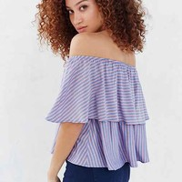Kimchi Blue Striped Ruffle Off-The-Shoulder Blouse