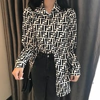 FENDI New Popular Women Classic Full F Letter Long Sleeve Lapel Medium Long Style Top Shirt I13630-1
