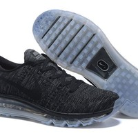 """""""Nike Air Max Flyknit"""" Unisex Sport Casual Flywire Weave Air Cushion Sneakers Couple R"""