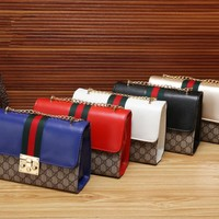 """Gucci"" Fashion Personality Multicolor Print Metal Chain Single Shoulder Messenger Bag Women Lock Buckle Small Square Bag"