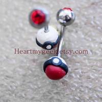 Pokemon Pokeball Belly Ring Sugical Steel 14g Gauge READY TO SHIP