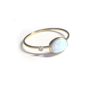 Custom 14kt gold opal & diamond ring