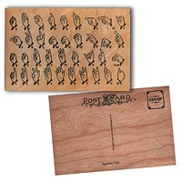Wood Postcard Sign Language