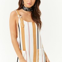 Boxy Striped Buckle-Strap Romper
