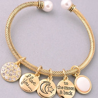 Love You To The Moon and Back Gold Cuff Charm Bracelet