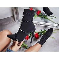 Fashion women's boots Winter new-style pointed liutin stretch cloth thin super high heels