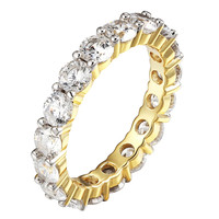 Solitaire Eternity Band Wedding Engagement 14k Gold On Sterling Silver Promise