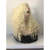 """Cool Long Blonde Waves Human Hair Blend Lace front wig 16"""""""
