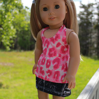 18 inch doll clothes, pink animal print halter style tank top  and black and white denim mini skirt, american girl, maplelea