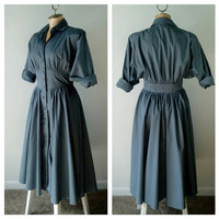 ROSIE THE RIVETER Grey Shirtwaist Dress 80s does 50s Inspired Day Dress Rockabilly Pinup Girl Clothing